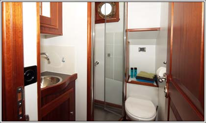 Aaltje Engelina Bathroom with shower, toilet and sink